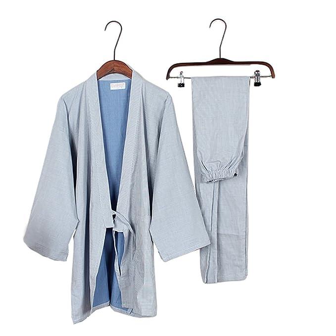 Trajes de estilo japonés de los hombres de algodón puro kimono traje de pijama Suit Dressing
