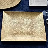 BalsaCircle 6 pcs 13-Inch Gold Wooden Textured Acrylic Square Charger Plates - Dinner Chargers Wedding Party Supplies Holidays
