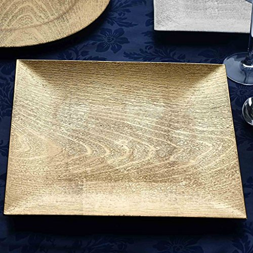 BalsaCircle 6 pcs 13-Inch Gold Wooden Textured Acrylic Square Charger Plates - Dinner Chargers Wedding Party Supplies Holidays (Square Charger Plate)