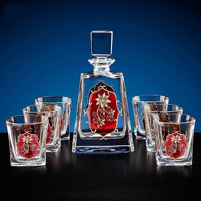 LIUDADA Vaso de Vidrio, Cristal Vaso de Vino Conjunto de Siete Piezas Traje de Oro Patrón Botella de Vidrio de Whisky (Color : Claro): Amazon.es: Hogar