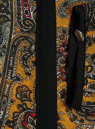 oodji Ultra Mujer Blusa de Tejido Fluido con Acabado en Contraste Amarillo (5729E)