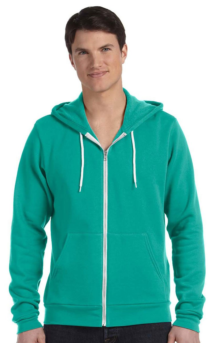 Canvas 3739 Unisex Poly-Cotton Fleece Full-Zip Hoodie, Teal, Small by Bella