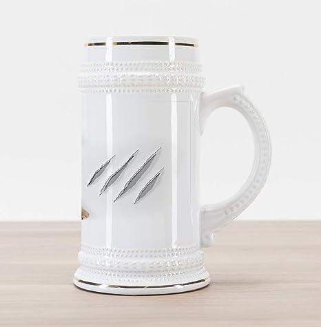 Amazoncom Lunarable Animal Beer Stein Mug Funny Cat In