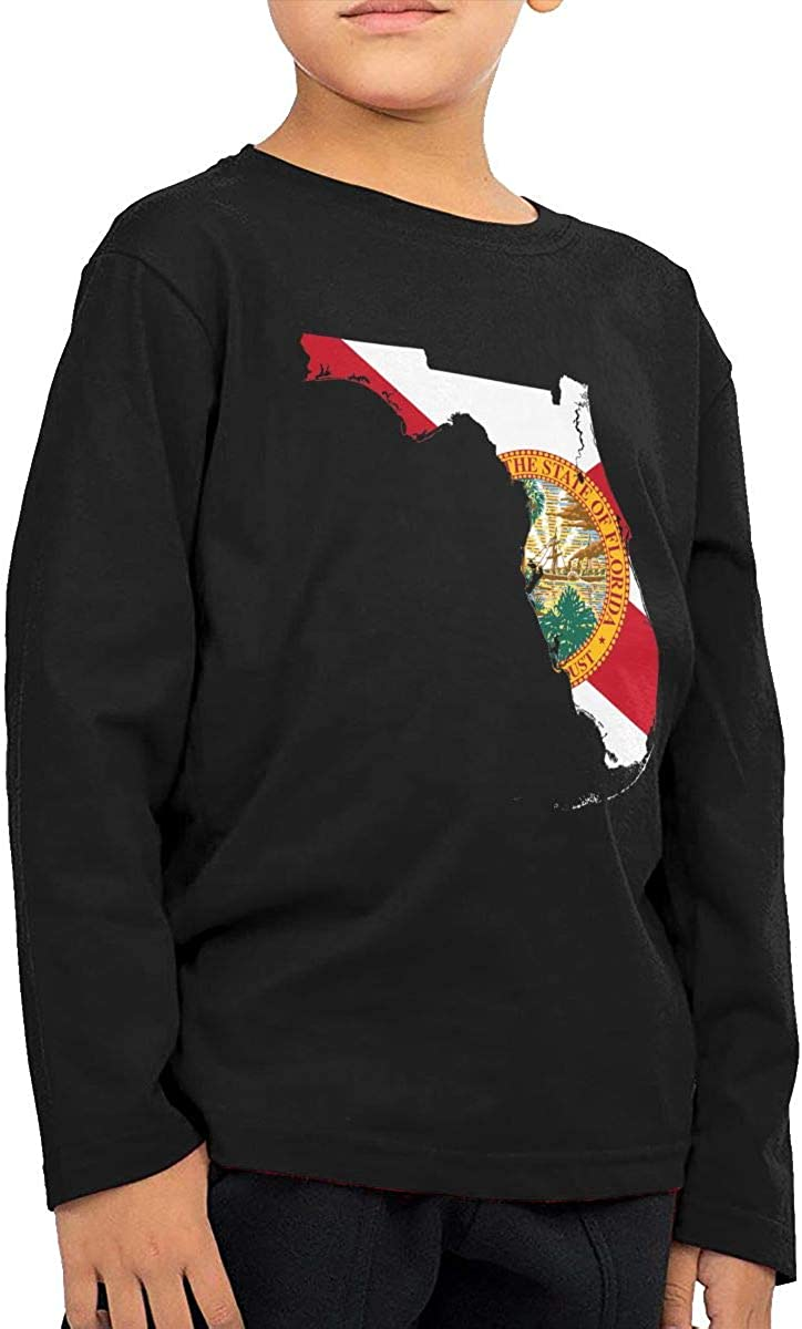 CERTONGCXTS Little Girls Florida State Map with Flag ComfortSoft Long Sleeve T-Shirt