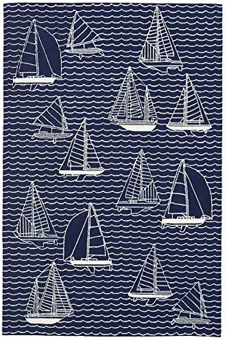 Liora Manne Capri Coastal Sails Navy Indoor Outdoor Rug, 7 6 x 9 6