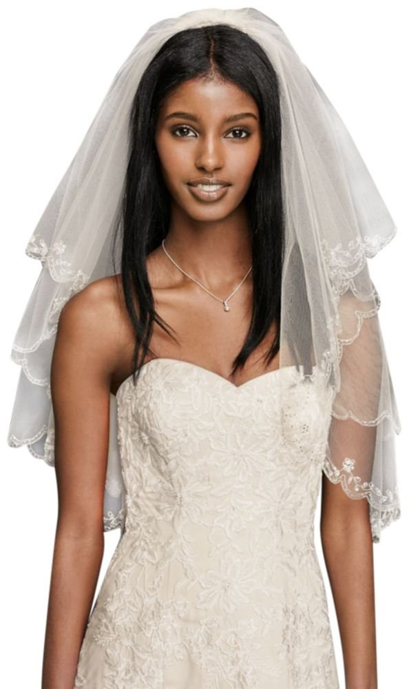 Fingertip Length Two-Tier Veil with Scallop Edge Style 689, Champagne