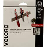 VELCRO Brand Industrial Strength - Low Profile | Superior Strength, 30% less Thickness than our Regular Industrial Strength Products | Size 10ft x 1in | Tape, White