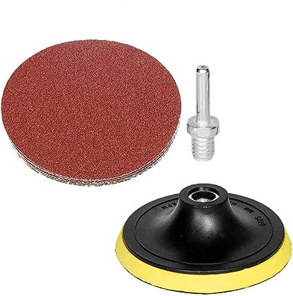 10X 5Inch Sanding Disc Sand Paper Hook Loop Sander+Backer Pad+M14 Drill Adapter