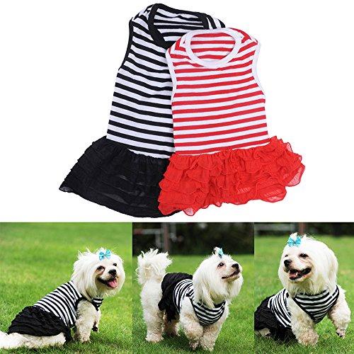 [Yunt Cute Dog Clothes Pet Dog Costume Stripe T-shirt Skirt Puppy Princess Dress Dog] (Cute Female Dog Costumes)