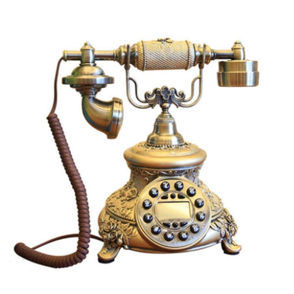 FU TEL Vintage Telephone- Resin Metal Antique Classical Wired Button Dialing Landline Phone Living Room Study