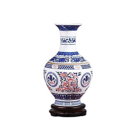 Amazon.com: Jarrón de cerámica Lixin hecho a mano con base ...