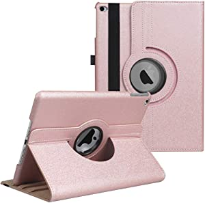 LXS iPad 9.7 inch Case 2018 2017/ iPad Air Case - 360 Degree Rotating Stand Protective Cover Smart Case with Auto Sleep/Wake for Apple iPad 5th/6th Generation (Rose Gold)
