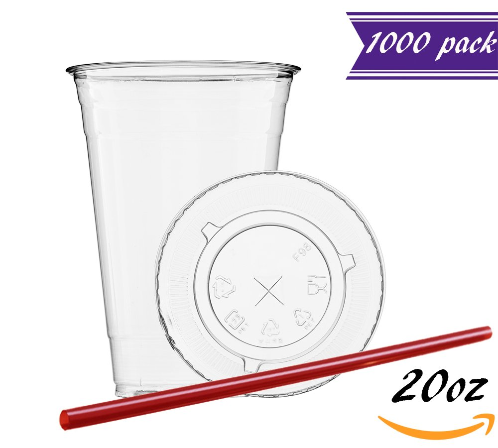 (Set of 1000) 20 oz Clear Plastic Cups with Flat Lids, BONUS Straws, BPA-Free, Ideal to go PET Cups with Travel Lids, Great for Iced Coffee, Smoothies, Lemonade, Iced Tea, Bubble/Buba Tea