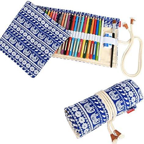 magicw Canvas Pencil Wrap Caso, organizador de rollo de lápiz de dibujo para artista de viaje, Roll Up lápices funda de sujeción (lápices no incluidos): Amazon.es: Oficina y papelería