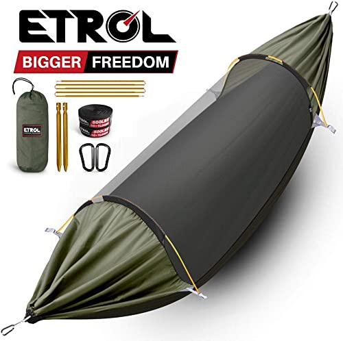 ETROL Hammock, Upgrade Double Single Camping Hammock with Mosquito Net, Tree Straps, Carabiner, 3 in 1 Function Design Aluminium Parachute Portable Hammock for Indoor, Outdoor, Hiking, Patio, Travel