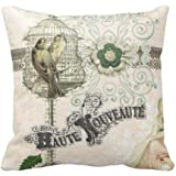 Damuyas French Inspired Shabby Chic Bird Cage Home Decor Cushion Cover Throw Pillowcase (1#)