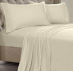 Posh Home Jersey Knit Ultra Soft Lightweight Cotton T-Shirt Comfortable Breathable Cooling Cozy Unisex All-Season Bed Sheet Set Easy Care (Twin, Almond)