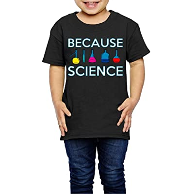 Wzfa Child's Because Science Cool T-Shirt for Girls Or Boys Tee Black