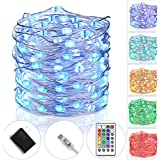 Tesyker Fairy Lights Plug In String Lights for Bedroom Color Changing Lights USB Led String Lights With Remote for Indoor Christmas Wedding Costume 33 Ft 100 LEDs, Multicolor 16 Colors