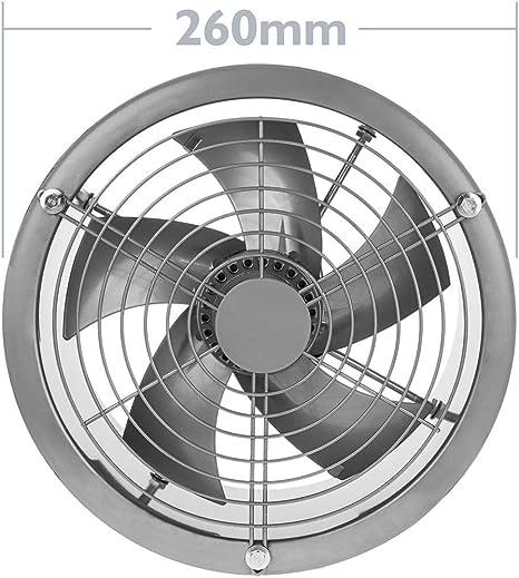 Ventilateur dextraction /à Tube de 200 mm pour Ventilation Industrielle 2550 TR//Min Rond 260x260x180 mm Argent PrimeMatik