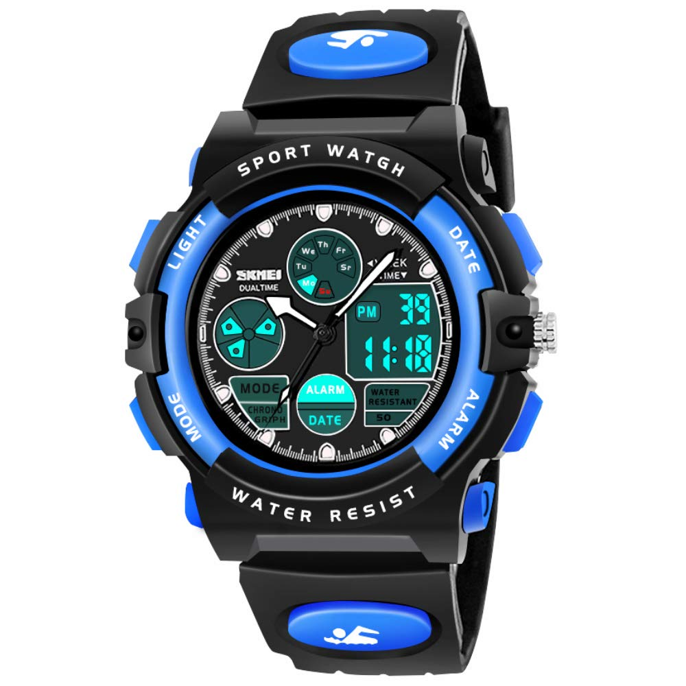 SOKY Gifts for Boys Age 6-15, LED 50M Waterproof Digital Watch for Kids Sports Watches Timer with Alarm Birthdat Present Christmas New Gifts for 6-15 Year Old Boys Xmas Stocking Fillers SKUSW02 by SOKY
