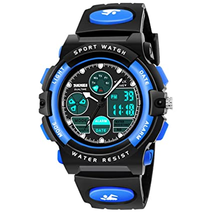 SOKY LED 50M Waterproof Digital Sport Watches for Kids with Alarm Timer