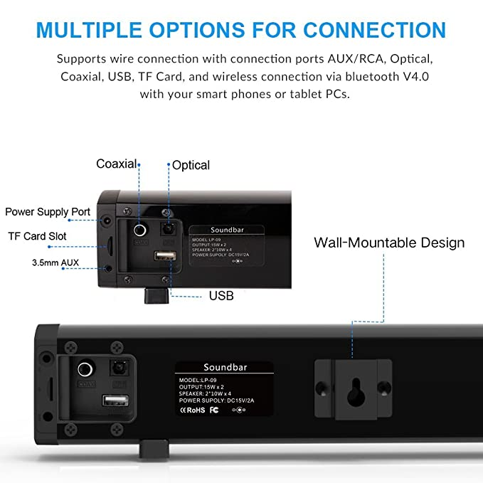 ... Home Theater Surround Sound, Button and Remote Control, Wall Mountable, Support AUX/Optical/Coaxial/TF Card: Home Audio & Theater