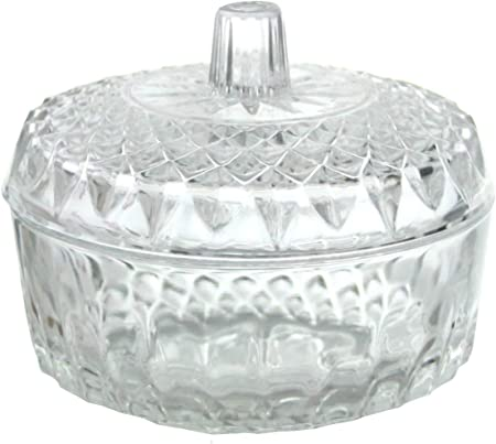 Transparent Glass Sugar Bowl Lid Round Dish Sweet Jar Container Storage Canister