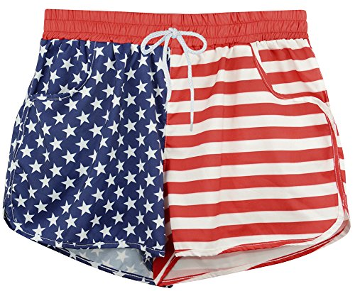 Flag Red Top White Bottom - 4th of July Womens Causal Board Shorts Swim Briefs Bottom Sports Beachrider American Flag XL