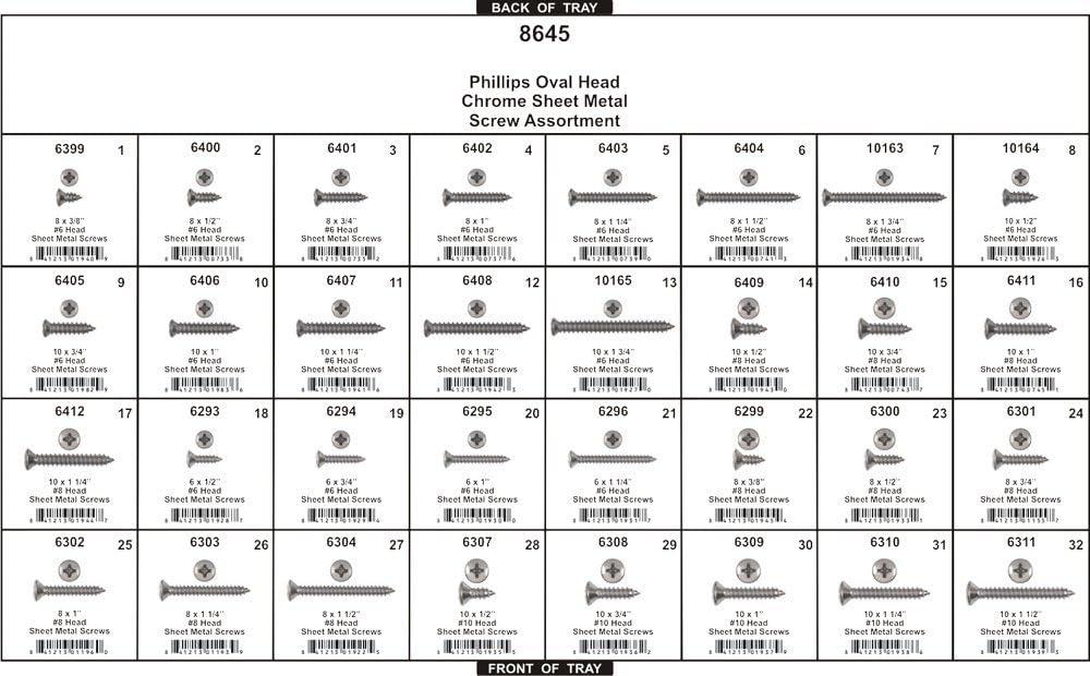 Disco Automotive 8645 Chrome Phillips Oval HD Screw Assortment