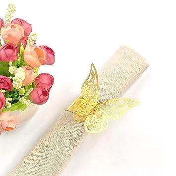 JZK® 50 x anillos de servilleta, Metal-gusta oro mariposa Papel nacarado conjunto