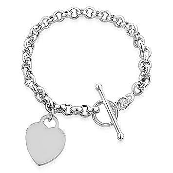 211deec71 Designer Inspired Heart Pendant Toggle T Bar Bracelet Sterling Silver 925  Plated 20cm: Amazon.co.uk: Kitchen & Home