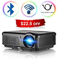 WiFi Bluetooth Projector 3600 Lumens LCD LED Projector 1080p Full HD, Multimedia Home Theater Video Projector Speakers HDMI Cable Remote for Phone iPhone PC USB Outdoor Movies
