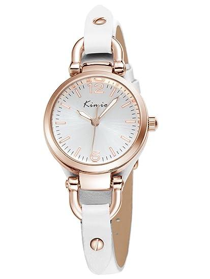 Alienwork Reloj Mujer Relojes Piel de Vaca Blanco Analógicos Cuarzo Oro Rosa Impermeable Vintage Elegante