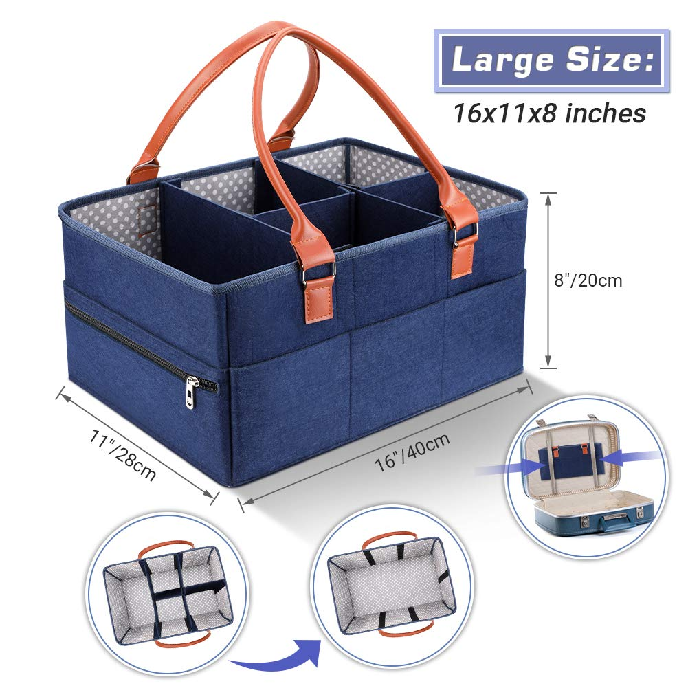 Newborn Registry Must Have Wipes and Toys Baby Diaper Caddy Organizer Portable Car Travel Bag for Diapers Large Nursery Diaper Storage Bin with Zippered Pocket Great Baby Shower Gift Basket