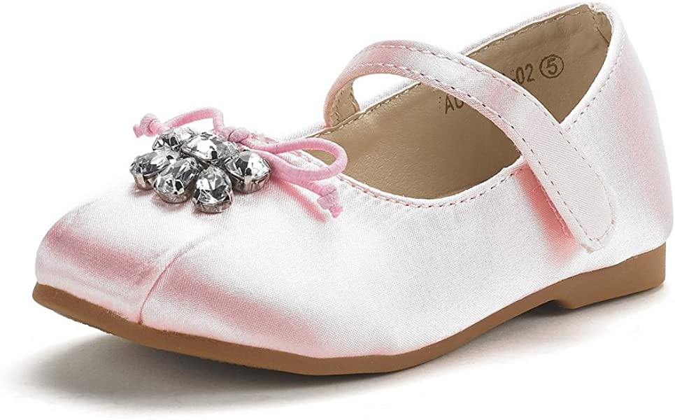 fdf812b845d1 DREAM PAIRS Toddler Aurora-02 Pink Satin Girl s Mary Jane Ballerina Flat  Shoes Size 4