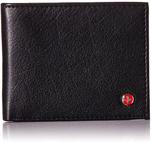 Alpine Swiss RFID Safe Men's Leather Bifold Passcase Wallet 2-in-1 Card Case