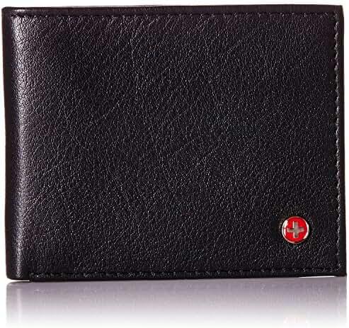 Alpine Swiss RFID Safe Men's Leather Bifold Passcase Wallet 2-in-1 Card Case