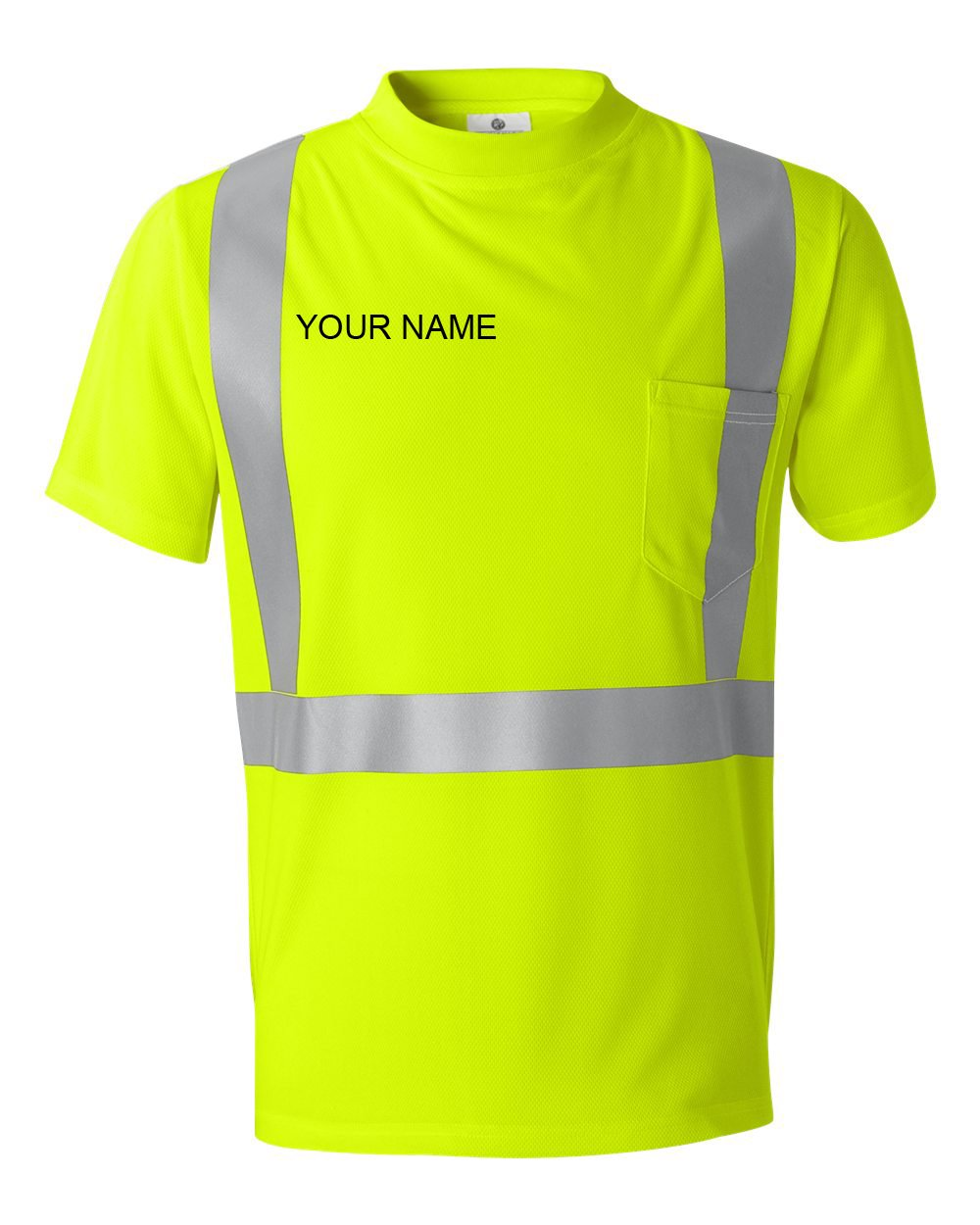 Men's Custom Name Embroidered High-Visibility Reflective Safety ANSI Construction Performance Microfiber Short Sleeve T-Shirt (Medium, Lime)