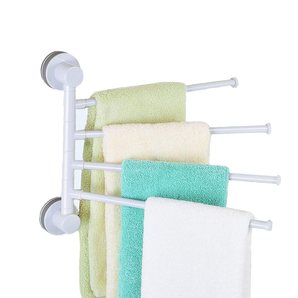 JINSHUNFA Swivel Towel Bar 4-Arm Bathroom Swing Hanger Towel Rack Holder Storage Organizer Space Saving Wall Mount