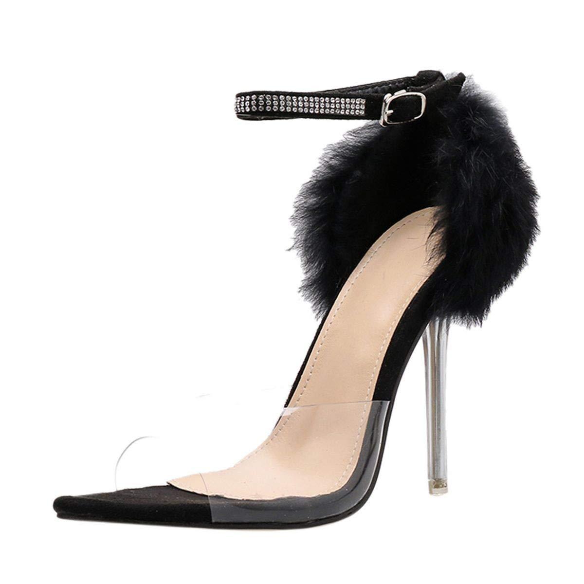 Meiliwanju Women's Clear Open Toe Ankle Strap Feather Furry D'Orsay Stiletto High Heel Dress Sandal Lady Heeled Pumps Shoes (Black, 7.5)