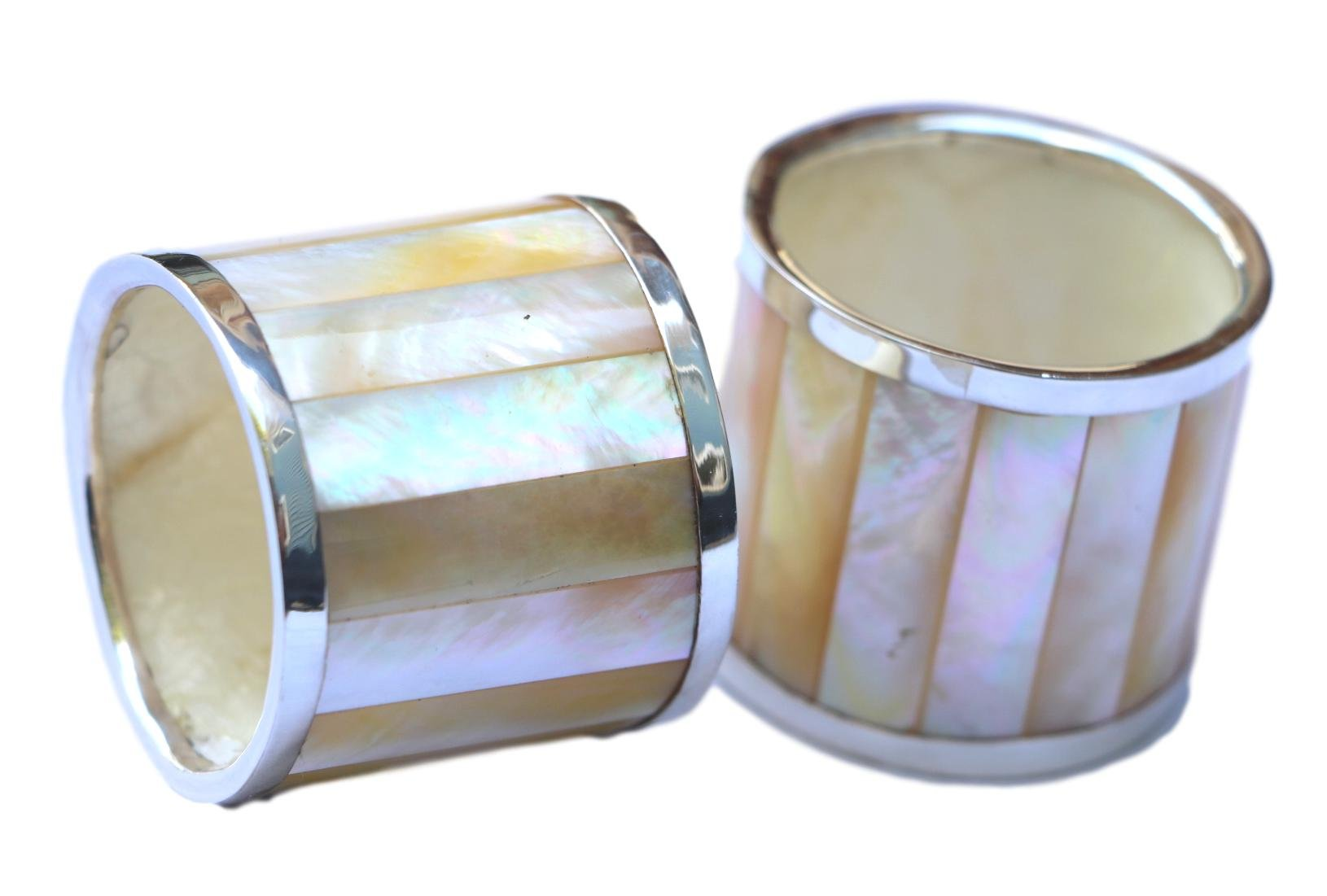 Bali Thai Imports Sterling Silver and Shell Napkin Rings (set of 2) (Mother of Pearl)