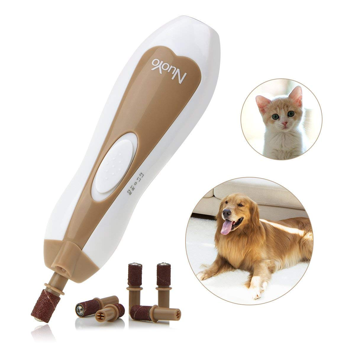 Electric Pet Nail Grinder, Paw Trimmer Clipper, Grooming,Trimming, Shaping, and Smoothing Tool with 6 Sanding Bands for Dogs Cats and Other Small & Medium Pets by NuoYo