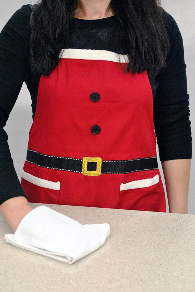 DII Cotton Chistmas Kitchen Apron with Pocket and Extra Long Ties, 29.5 x 24, Cute Women Ruffle Apron for Holidays, Hostee and Housewarming Gift-Mrs. Claus by DII (Image #4)