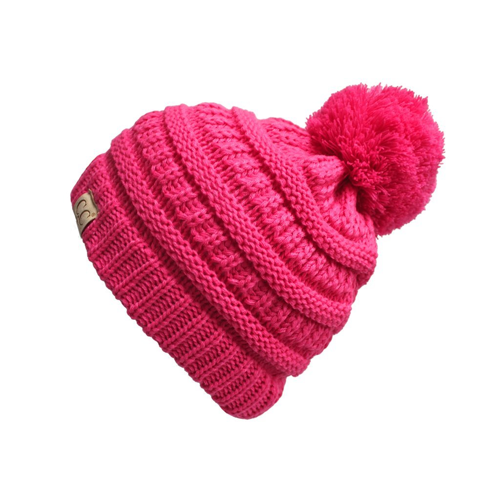 BYSUMMER C.C Kids Baby,Toddler and Children Soft Warm Skull Cap Beanie Winter (New Candy Pink)