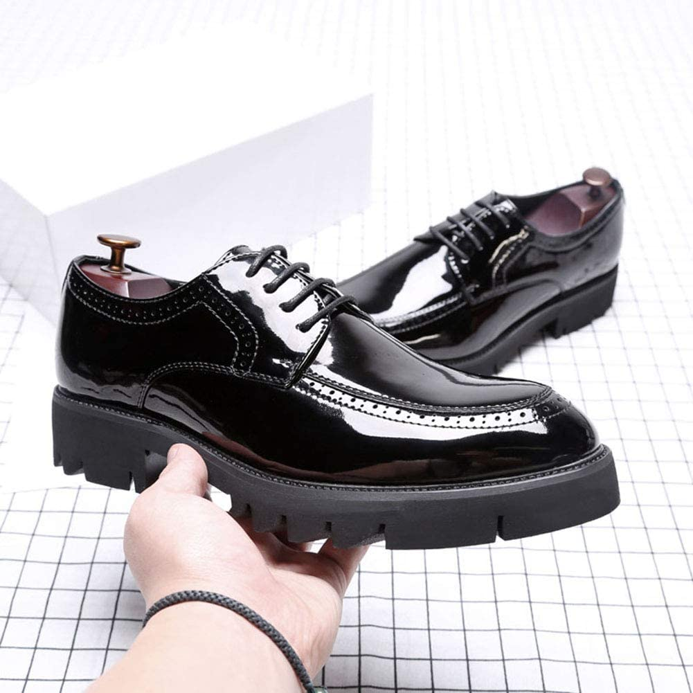 MYC Mens Genuine Leather Classic Brogue Oxford Wing-Tip Lace Up Leather Lined Perforated Dress Oxfords Shoes Size 8