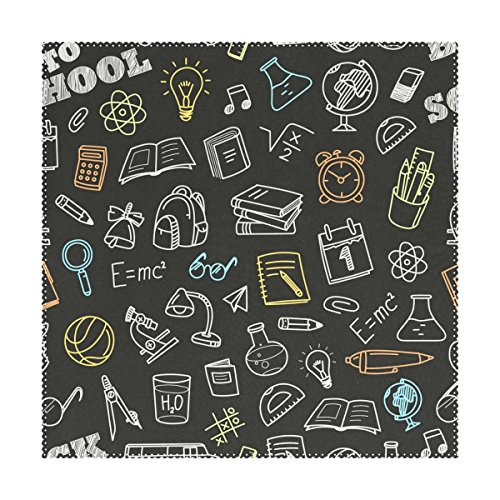 My Little Nest Square Placemats School Things Doodles Heat Resistant Table Mats Washable Polyester Place Mats for Party Kitchen Dining Table Set of 4