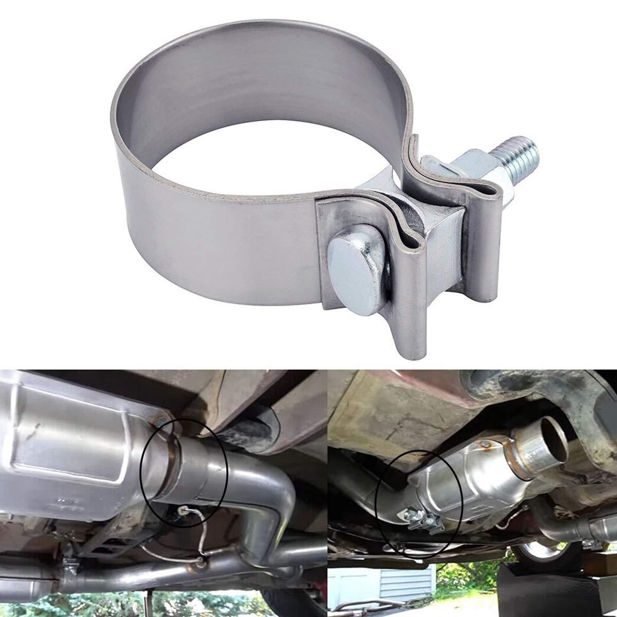 Exhaust Pipe Clamp Muffler Repair Parts Exhaust Flex Pipe Exhaust Manifold Exhaust Resonator 3.0 Exhaust Clamp Stainless Steel Band Clamp for Exhaust Tips Catalytic Converter Repair Program