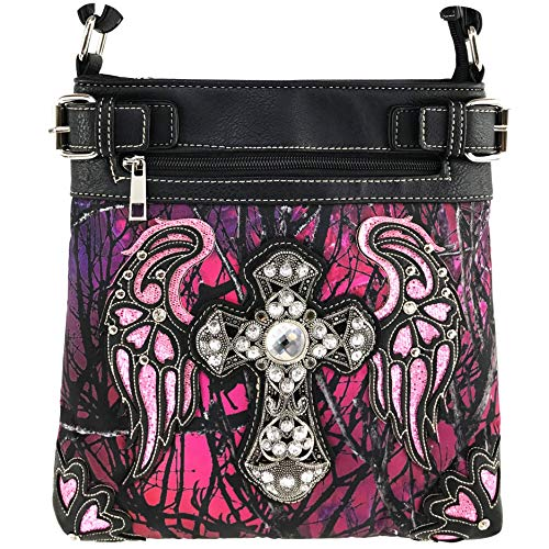 Vintage Purple Conchos - Justin West Camouflage Tree Branches Bling Rhinestone Cross Wing Messenger Bag and Wallets (Purple Messenger)