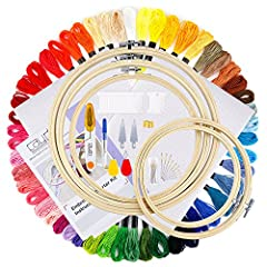 Caydo Embroidery Starter Kit contains 5pcs bamboo embroidery hoops, 50 color threads, 2pcs 14 count white cotton classic reserve aida and 1 set cross stitch tool kit. The most complete beginner embroidery kit is equipped with all the tools yo...